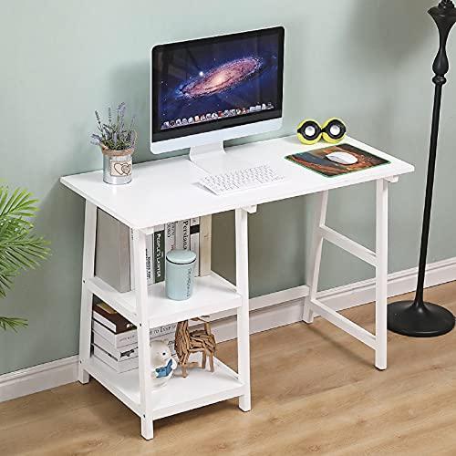 Piyu - Escritorio de ordenador de estilo industrial con 2 estantes para oficina y casa, mesa de trabajo de madera, 110 x 50 x 80 cm, color blanco