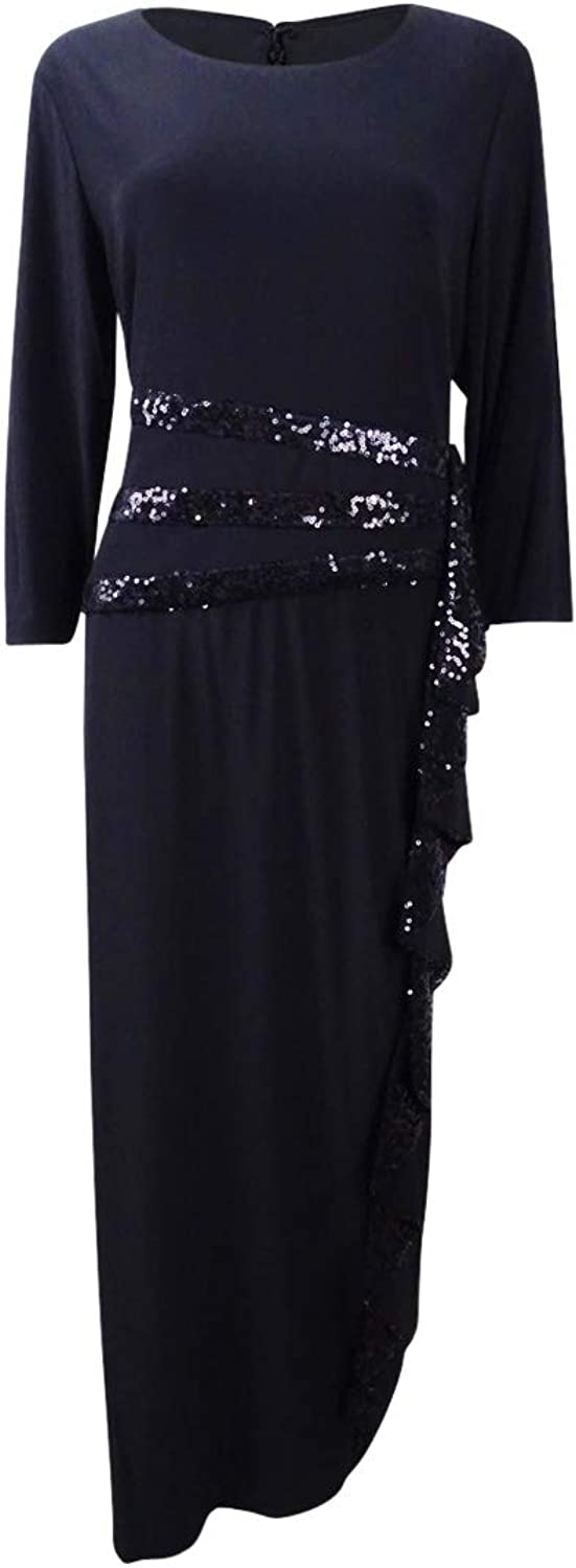 R&M Richards Womens Long and Classic Sequins Cascade Dress Formal Dress