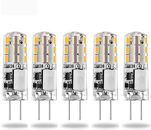 Lampadine a LED G4 da 12 V, luce bianca calda 3000 K AC/DC 1.5 W/20 W lampadine alogene G4 di ricambio, attacco bi-pin, tipo JC, a risparmio energetico, non dimmerabile, confezione da 5
