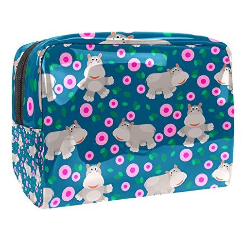 Bolso Cosmético Hipopótamo Gris de Dibujos Animados Bolso de Maquillaje Bolsa de Almacenamiento portátil Estuche de Maquillaje con asa Makeup Toiletry Bag 18.5x7.5x13cm