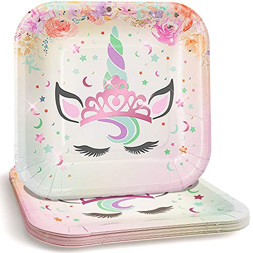 "Praity Square Paper Unicorn Themed Plates Set: 16-Pack Waterproof Deluxe Party Plates from Thick Paper | Pink Foil Unicorn Party Disposable Plates for Birthday, Kids' Party & More (7"" Pink Foil)"