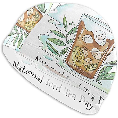 OMarcus Niedliches Eistee-Glas mit Limette und Blättern Badekappen für Männer und Frauen sind auch für Jungen und Mädchen geeignet.