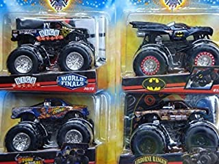 Hot Wheels Monster Jam Diecast Tour Pack Challengers: Spectraflamess Batman, High Roller, Airborne Ranger - Stone Crusher Scale 1/55