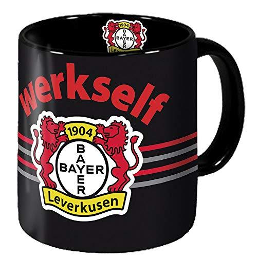 Bayer 04 Leverkusen Tasse - Werkself - Kaffeetasse schwarz/rot Kaffeepot, Mug - Plus Lesezeichen Wir lieben Fußball