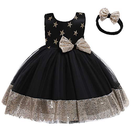 para 1-6 Años Vestido de Fiesta Niña Encaje Tul Vestido Princesa Niña con Lazo Vestidos de Niña + Diadema Vestidos para Ninas para Boda Vestido Ceremonia Niña (#Negro, 3-4 años)