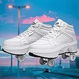 ローラースケートの女性、7つの色が変わるライトが付いている調節可能なクワッドローラースケート、子供学生大人に適した2-in-1多目的靴,EUR37