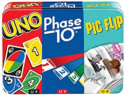UNO, Phase 10 and Pic Flip Bundle Tin, 3 Mattel Card Games for Players 7 Year Olds & Up, Decorative Storage Tin, Gift for Kid, Family & Adult Game Night 7 Years & Older