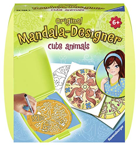 Ravensburger Mandala Designer Mini cute animals 29766, Zeichnen lernen für Kinder ab 6 Jahren, Kreatives Zeichen-Set mit Mandala-Schablone für farbenfrohe Mandalas