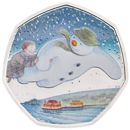 The Snowman 2018 Royal Mint Colour 50p - Caja para Monedas (50 Peniques, Plateada), Color Verde