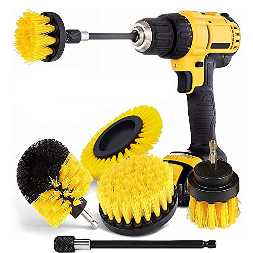 Drill Brush Attachment Set,5 Pack Power Scrubber Cleaning Kit ,Scrub Brush with Extend Long Attachment All Purpose Drill Scrub Brush Kit for Cleaning Shower,Grout,Tile,Bathroom,Kitchen Surface(Yellow)
