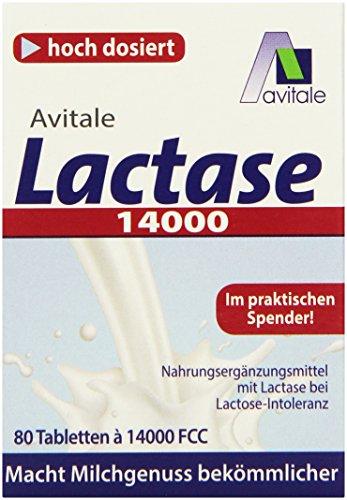 Avitale Lactase 14000 FCC, 80 Tabletten im Spender, 1er Pack (1 x 30 g)