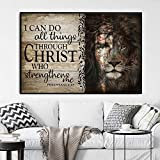 Jesus and Lion The Perfect Combination I Can Do All Things Through Christ Wall Art Print Poster, Jesus and Lion Painting Best Gift Wall Decoration (No Frame)