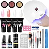 Lictin kit Lampara Uñas de Gel-Lámpara Secador de Uñas UV/LED con 4 * 15ml Extension Glue, 100...