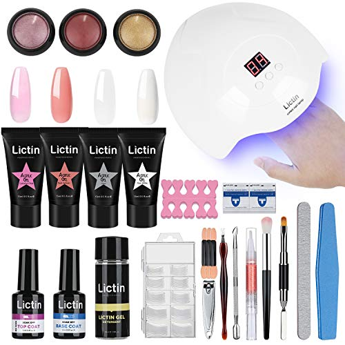 Lictin kit Lampara Uñas de Gel-Lámpara Secador de Uñas UV/LED con 4 * 15ml Extension...