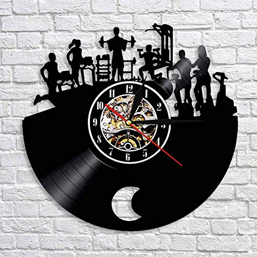 CVG Gym 3D Reloj de Pared Colgante Fitness Sport Reloj de Disco de Vinilo Diseño Moderno Bodybuilder Art Decoración de Pared