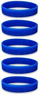 5 Colon Cancer Awareness Dark Blue Ribbon Bracelets (5 Bracelets - Retail) High Quality Silicone Bracelets