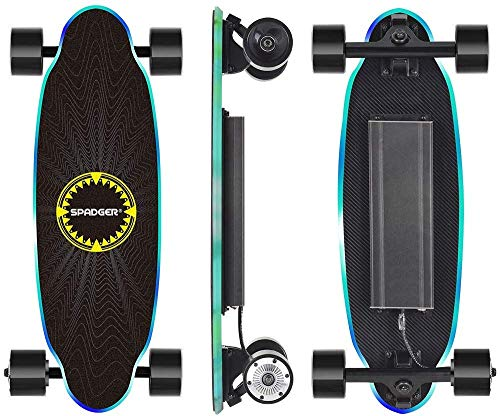 SPADGER Monopatín Skateboard Eléctrico con Motor de Control Remoto de 250 Vatios, Velocidad Máxima de 25 km/h, Autonomía de 10 a 15 km, Peso Portátil de 3,5 kg para Adolescentes y Adultos