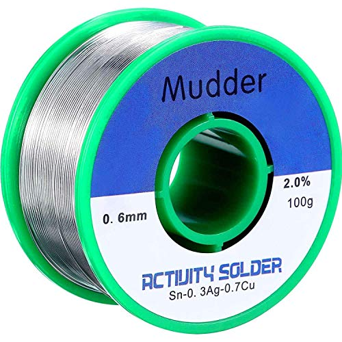 Mudder Lead Free Solder Wire Sn99 Ag0.3 Cu0.7 with Rosin Core for Electrical Soldering 0.22lbs (0.6 mm)