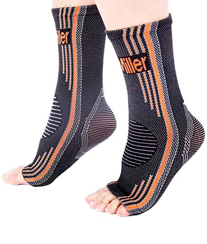Doc Miller Premium Ankle Brace Compression Support Sleeve Socks for Swollen Foot Plantar Fasciitis Achilles Tendonitis, Use as Injury Support Recovery Eases Pain Swelling 1 Pair