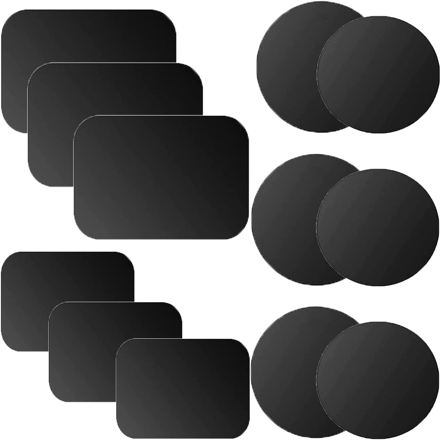 12 Pack Mount Metal Plate for Phone Magnetic with 4 Different Size Car Mount Holder Cradle with 3M Adhesive, Compatible with Magnetic Mounts (6 Rectangle and 6 Round), Black