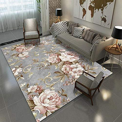 Tapis Moderne Famille Décorations Fleur de Mode Rose Gris Tapis de Salon à Design Scandinavie Tapis Déco Rectangle Antidérapant Lavable 200X300CM
