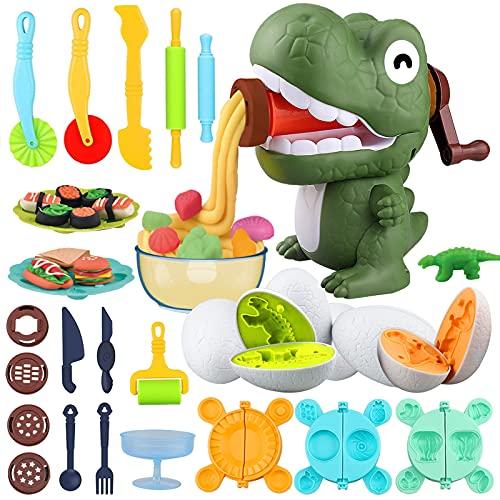 Yojoloin Herramientas Plastilina Play Dough Accesorios Niños 3 4 5 6 Años,Moldes Plastilina Manualidades Dinosaurio Extrusor Maquina de Plastilina,DIY Kitchen Creations Cortadores Set