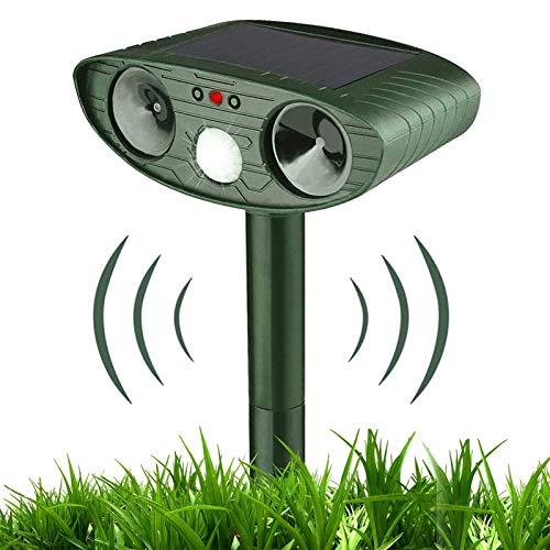 Cat Repellent, Ultrasonic Pest Repellent, Solar Powered Waterproof Animal Repeller, with PIR Motion Sensor and Two Speakers, Used for Repelling Foxes, Birds, Cats, Dogs and Mice On Garden Farms