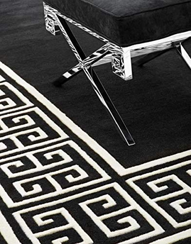 Casa Padrino Wollteppich Schwarz/Weiß - Verschiedene Größen - Handgetufteter Teppich aus Neuseeland Wolle, Grösse Teppich:300 x 300 cm