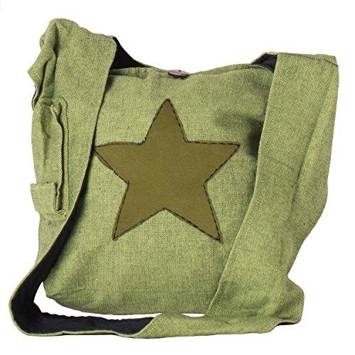 Vishes - Yogi Beuteltasche aus Baumwolle mit aufgenähtem Stern hellgrün
