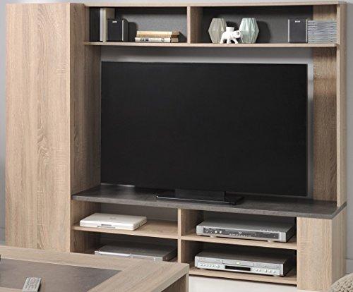 TV-Wand Fumio 5 Eiche natur Nachbildung Steinoptik 166x138cm TV-Möbel Wohnzimmer Wohnwand Schrankwand