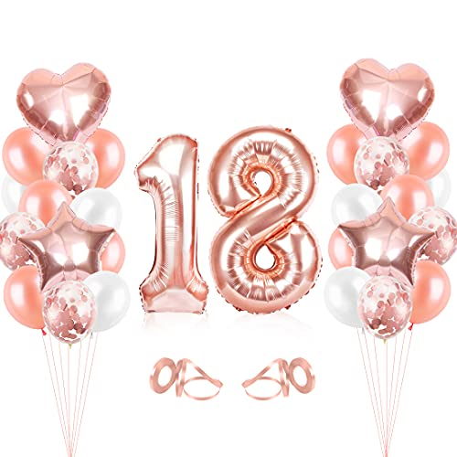 Bluelves Palloncini Compleanno 18, Oro Rosa Palloncini 18, Palloncini Compleanno 18, Numero 18 Gonfiabile Compleanno, Compleanno Palloncini in Lattice Coriandoli Palloncini