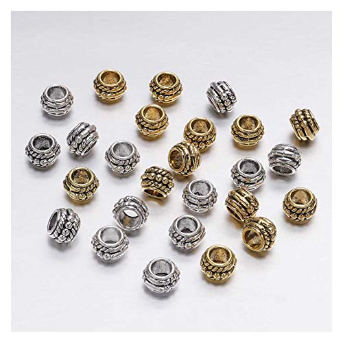 WEIYUE Lote de 30 cuentas espaciadoras sueltas bañadas en oro antiguo de 8 mm para hacer joyas, pulseras vintage (color: multicolor)