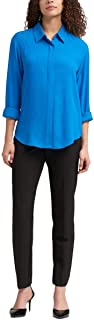 DKNY High-Low Roll-Tab-Sleeve Shirt Lagoon L