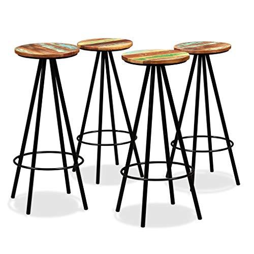 Festnight 4 Stück Barhocker Barstuhl Rund Bar Hocker aus Altholz und Stahl Barstühle Sitzkomfort 30 x 76 cm