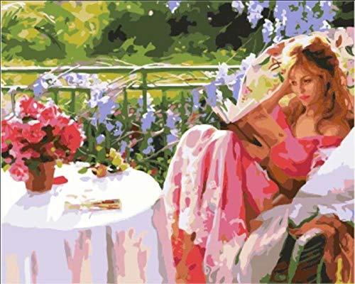 Lote de pintura por números Bella mujer en silla de jardín pintura acrílica para niños y adultos principiantes 40 cm x 50 cm sin marco