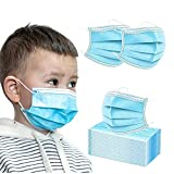 50 Pcs Disposable Face Masks for KIDS (9.5 x 14 cm)   Protective Nose & Mouth Coverings with 3-Layer Safety Shield, Elastic Ear Loops & Comfortable Universal Design