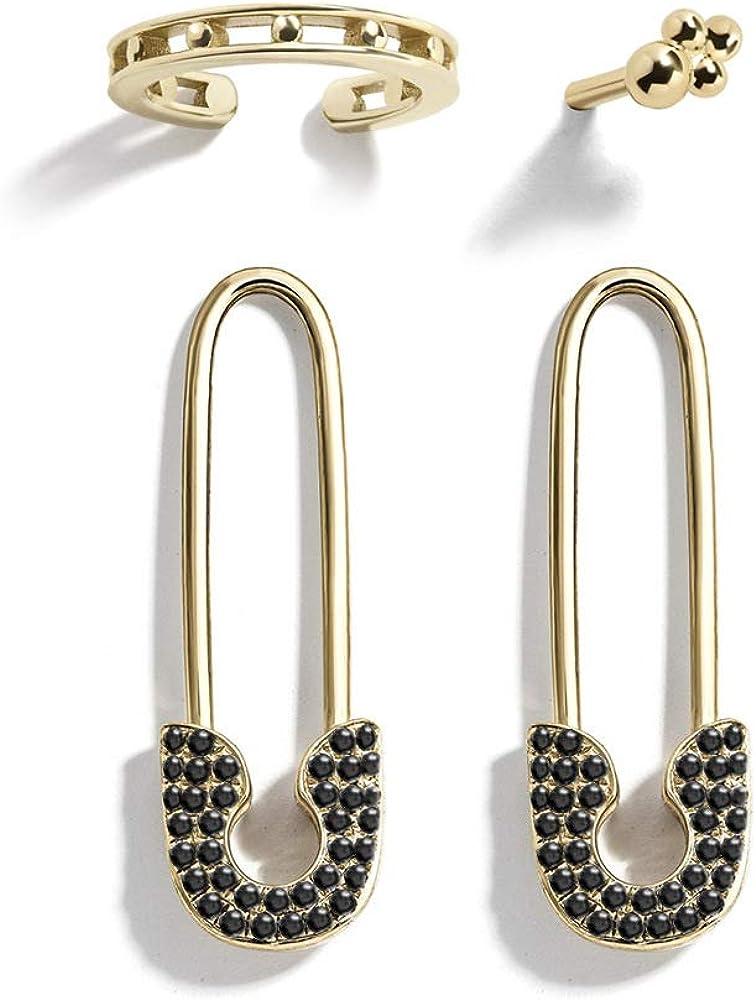 ASHMITA 14K Gold 4-5PCS Safety Pin Dangle Earrings Cubic Zirconia Cartilage Hoop Earrings Set For Women Jewelry