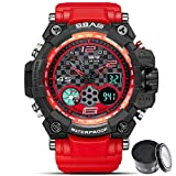 Digital Watch SBAO Watch Men's Luxury Analog Quartz Dual Display Watch Waterproof Sports Military Digital Led Army Tactical Wrist Watch (1_red)