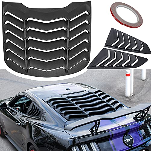 Rear+Side Window Louvers Fit for Ford Mustang 2015 2016 2017 2018 2019 2020 2021 Windshield Sun Shade Rain Cover GT Lambo Style ABS (Matte Black)