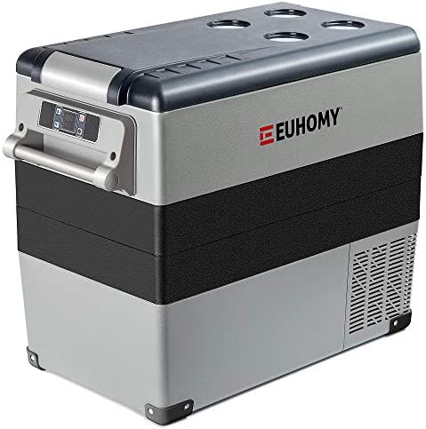 Euhomy Car Refrigerator 55Liter 59qt RV Refrigerator with 12 24V DC 120 240V AC Portable refrigerator product image