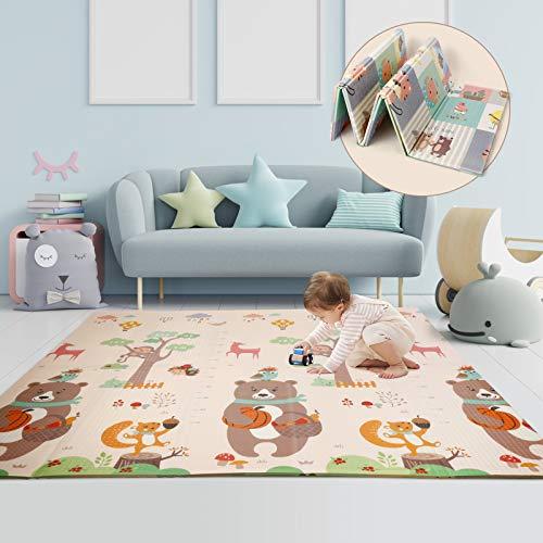 CRZDEAL Alfombra para niños 196 x 177 x 1.35cm XPE Alfombra Plegable para Juegos de bebés Doble Cara Almohadilla para Escalar no tóxico, Impermeable y Antideslizante