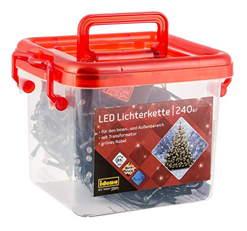 Idena 31855 - LED Lichterkette, mit 240 LED in bernsteinfarben, mit 8 Stunden Timer Funktion, in praktischer Box mit Henkel, Innen und Außenbereich, für Partys, Weihnachten, Deko, Hochzeit, ca. 21 m