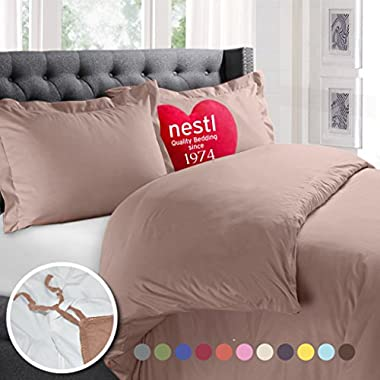 Nestl Bedding Duvet Cover, Protects and Covers your Comforter/Duvet Insert, Luxury 100% Super Soft Microfiber, Queen Size, Color Taupe Sand, 3 Piece Duvet Cover Set Includes 2 Pillow Shams