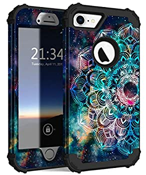 Hocase iPhone 8 Case iPhone 7 Case Shockproof Protection Heavy Duty Hard Plastic+Silicone Rubber Bumper Full Body Protective Case for iPhone 8 iPhone 7  4.7-Inch Display  - Mandala in Galaxy