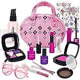 FancyWhoop Maquillaje Niñas Set 15 Piezas Set de Maquillaje con 2 Pegatinas de Joyas cosmético Lavable Maquillaje de Juguete para niñas Maquillaje niñas 3 años