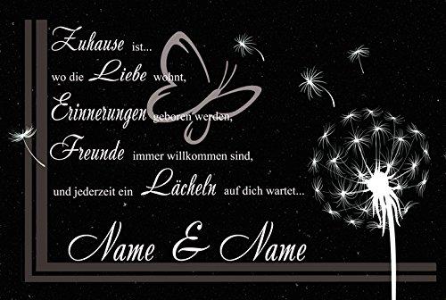 Eule-Design Persönliche waschbare Fußmatte Pusteblume mit Namen Ihr Geschenk für Familie und viele Anlässe Türvorleger (Schwarz)