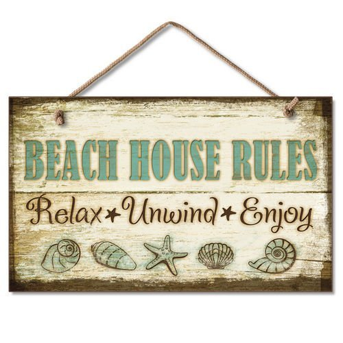 Home Decor Schild Beach House Rules Relax Unwind Enjoy Holzschild für Outdoor Yard Wandschild zum Aufhängen
