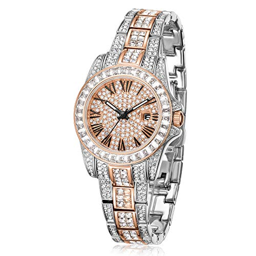 Gift for Her Crystal Watches for Women, Womens Watches Diamonds, Crystal Accented Two-Tone Crystal Dial Dress Watch with Date Rose Gold Bracelet Watch - Japanese Quarts Movement