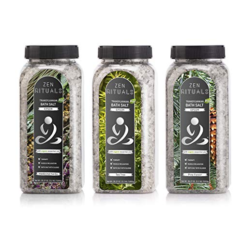 Zen Rituals Epsom Bath Salt Set – Transilvanian Epsom Bath Salt Medicinal Herbs, Transylvanian Epsom Bath Salt Tea Tree and Transylvanian Epsom Bath Salt Pine Forest – Bundle Pack 3 Bottles, 6.6 lbs