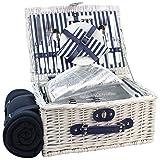 Canasta de picnic Willow para 2 personas, juego de cesto de mimbre con compartimiento enfriador aislado, alfombra desmontable de felpa de picnic (lavado blanco)